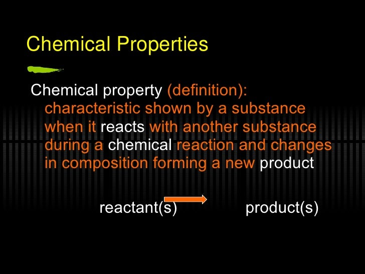 Chemical Property Reactivity Definition