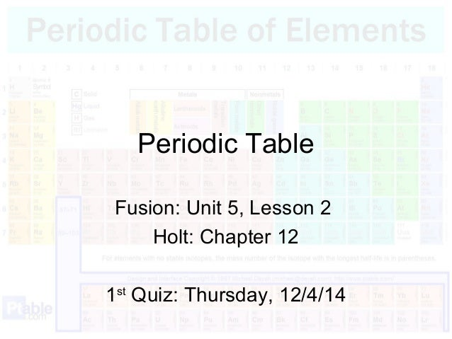 Periodic table notes periodic table fusion unit 5 lesson 2 holt chapter 12 1st quiz urtaz Images