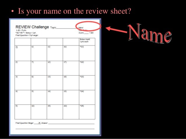 is your name on the review sheet - 6th Grade Periodic Table Activity