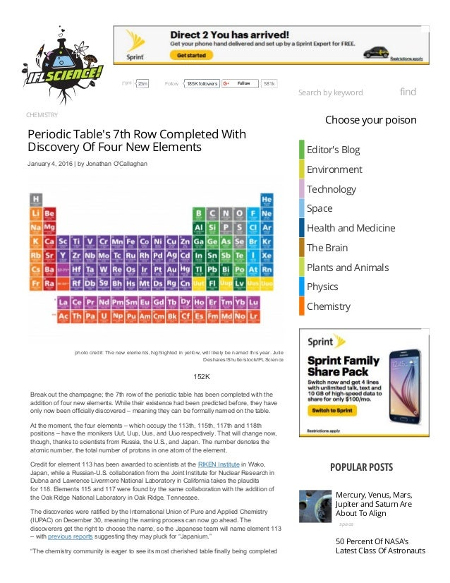 chemistry periodic tables 7th row completed with discovery of four new elements january 4 - Periodic Table Of Elements Discovery