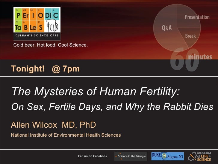 Cold beer. Hot food. Cool Science.     Tonight! @ 7pm  The Mysteries of Human Fertility: On Sex, Fertile Days, and Why the...