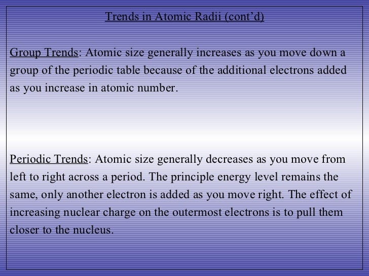 Periodic trends trends in atomic radii generally decreases generally increases 6 urtaz Image collections