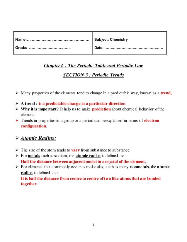 Periodic Trends Lecture Notes A.k. 1 Name:u2026