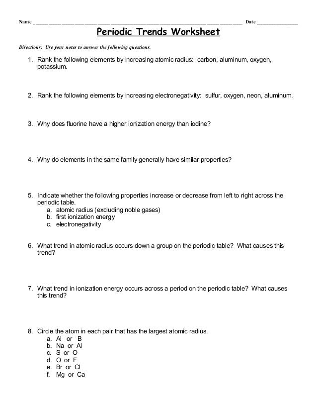 periodic trends in atomic properties worksheet answers