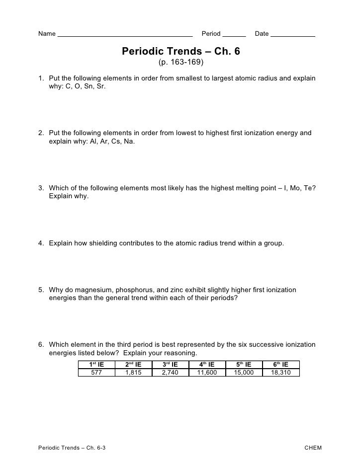 Periodic trends ws – Periodic Trends Worksheet Answers