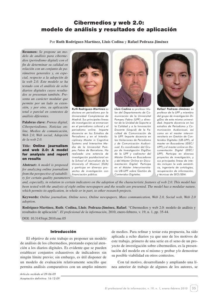 Cibermediosyweb2.0:modelodeanálisisyresultadosdeaplicación                             Cibermedios y web 2.0:   ...