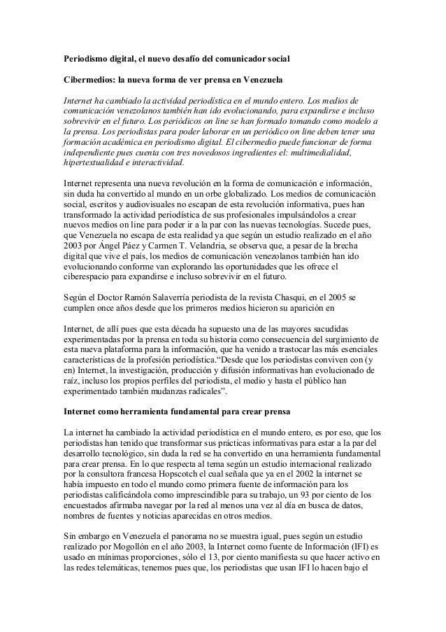 Periodismo digital, el nuevo desafío del comunicador social Cibermedios: la nueva forma de ver prensa en Venezuela Interne...