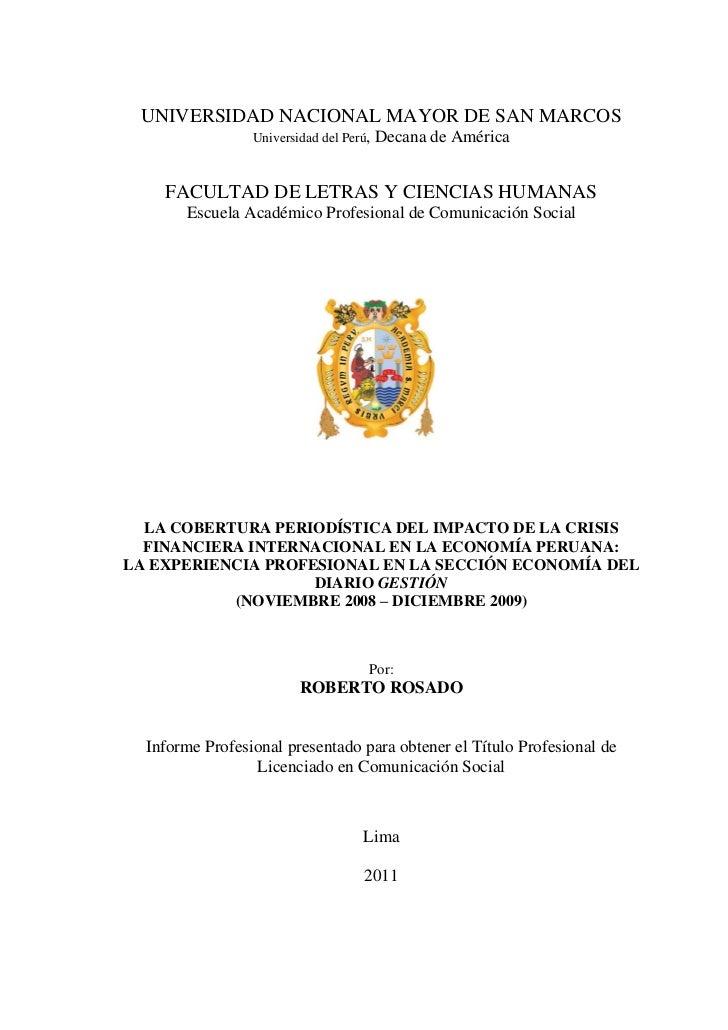 UNIVERSIDAD NACIONAL MAYOR DE SAN MARCOS                 Universidad del Perú,   Decana de América    FACULTAD DE LETRAS Y...
