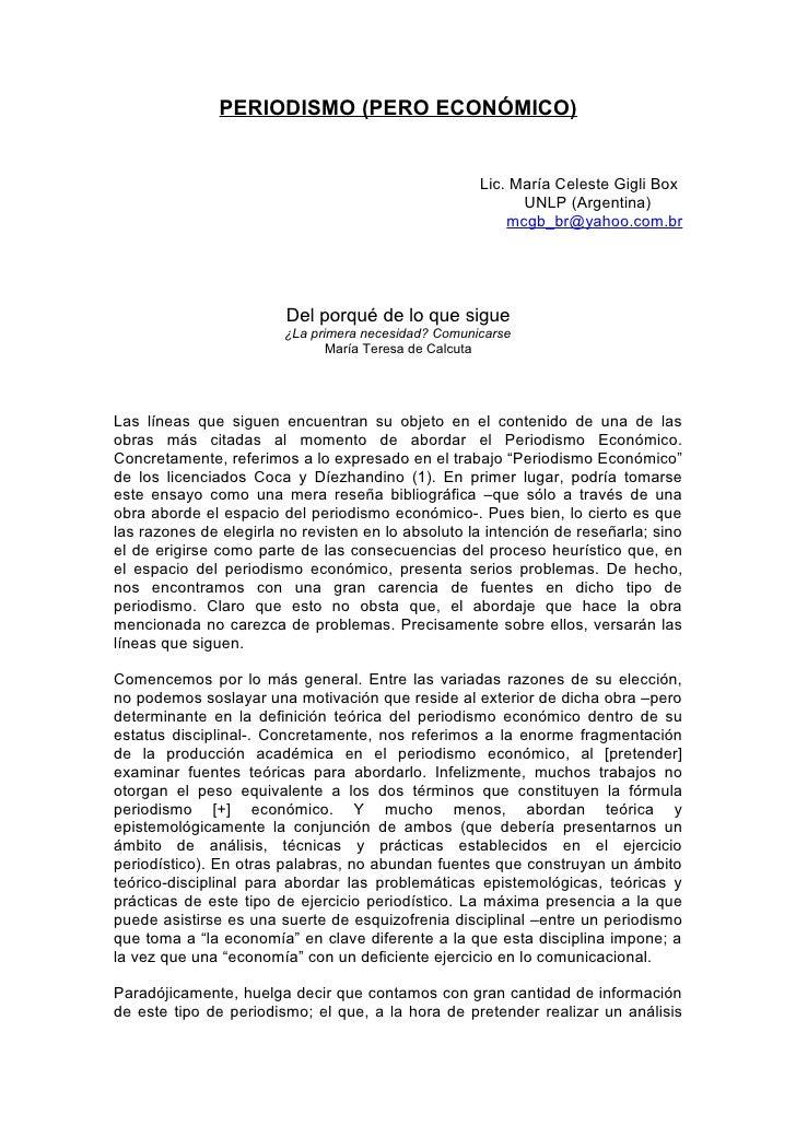 PERIODISMO (PERO ECONÓMICO)                                                        Lic. María Celeste Gigli Box           ...