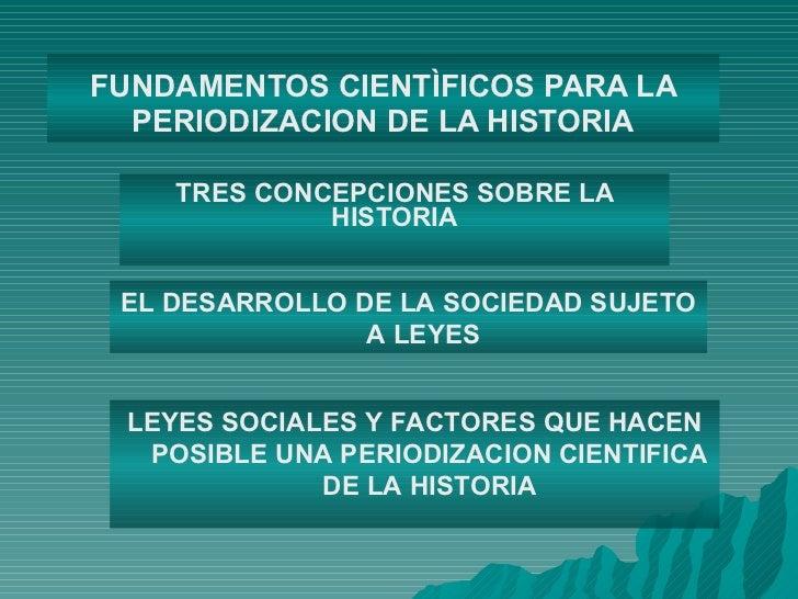 FUNDAMENTOS CIENTÌFICOS PARA LA PERIODIZACION DE LA HISTORIA TRES CONCEPCIONES SOBRE LA HISTORIA EL DESARROLLO DE LA SOCIE...