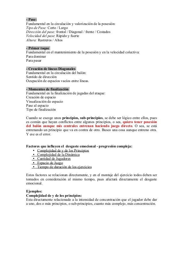 - Pase: Fundamental en la circulación y valorización de la posesión: Tipo de Pase: Corto / Largo Dirección del pase: front...