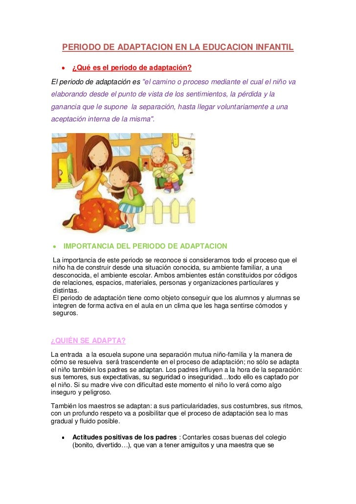 Periodo de adaptacion en la educacion infantil for Adaptacion jardin infantil
