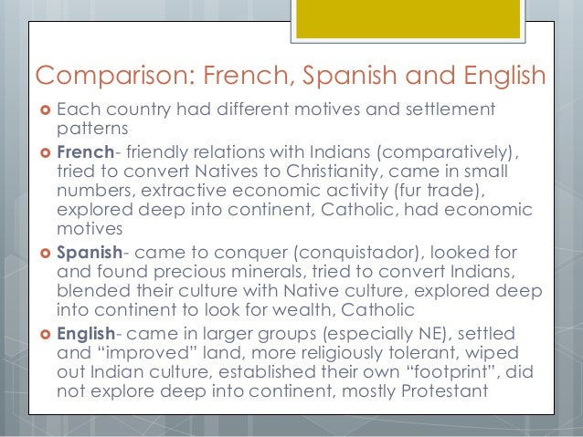 english and spanish motivation for colonization Watch video  more spanish expeditions followed juan ponce de león explored the coasts of florida in 1513 vasco núñez de balboa crossed the isthmus of panama and discovered the pacific ocean in the same year.