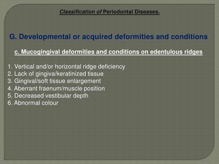 Periodontal diseases: A simplified version of the 1999 International Workshop.5<br />