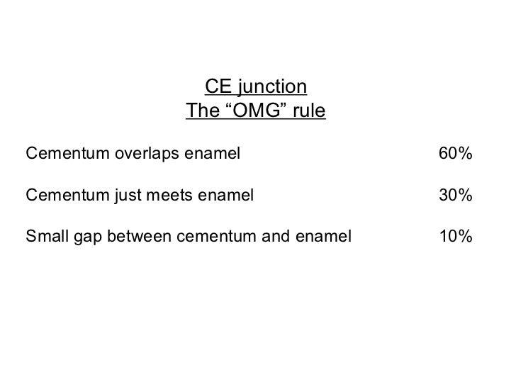 "CE junction The ""OMG"" rule  Cementum overlaps enamel 60%  Cementum just meets enamel 30%  Small gap between cementum an..."