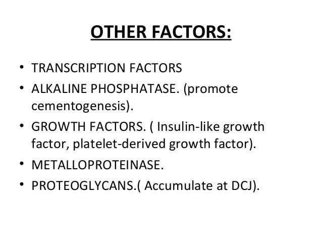 OTHER FACTORS: • TRANSCRIPTION FACTORS • ALKALINE PHOSPHATASE. (promote cementogenesis). • GROWTH FACTORS. ( Insulin-like ...