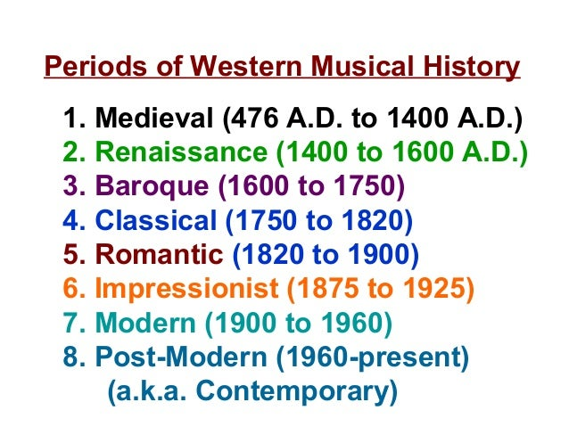 Periods of Western Musical History