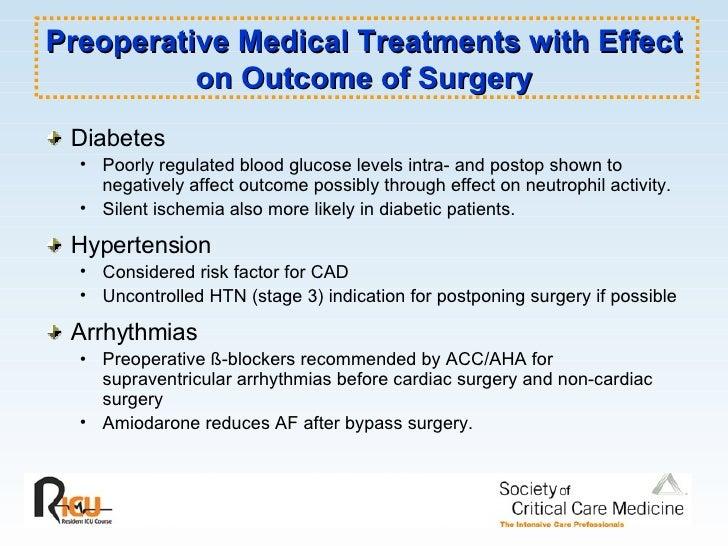 Preoperative Medical Treatments with Effect on Outcome of Surgery <ul><li>Diabetes  </li></ul><ul><ul><li>Poorly regulated...