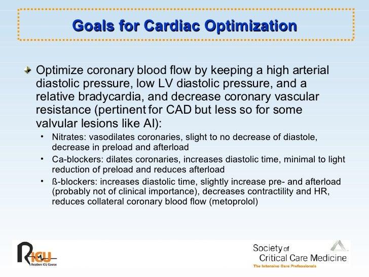 Goals for Cardiac Optimization <ul><li>Optimize coronary blood flow by keeping a high arterial diastolic pressure, low LV ...