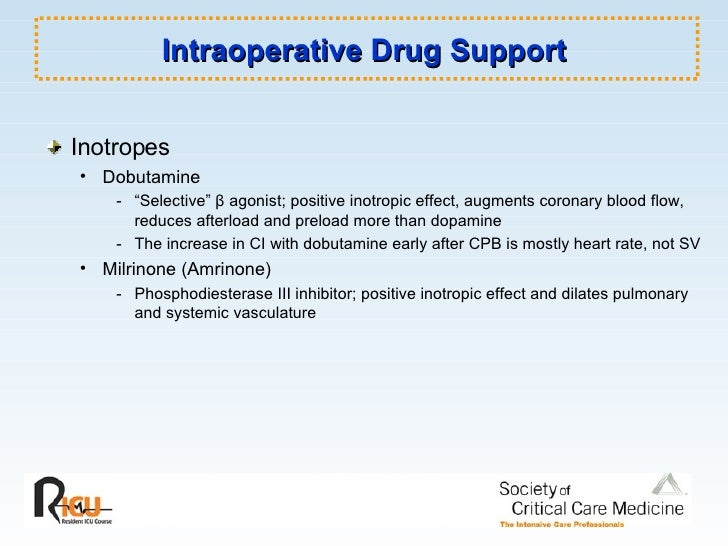 "Intraoperative Drug Support <ul><li>Inotropes </li></ul><ul><ul><li>Dobutamine </li></ul></ul><ul><ul><ul><li>- ""Selective..."