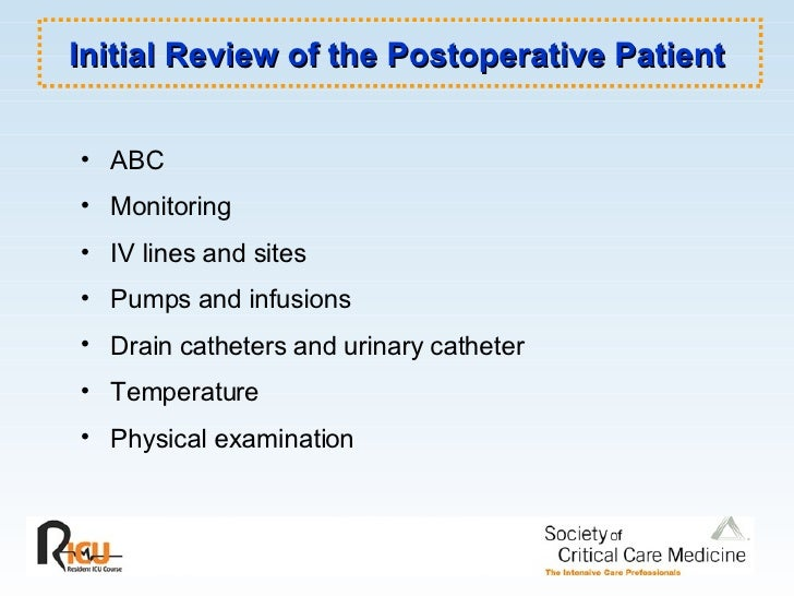 Initial Review of the Postoperative Patient <ul><li>ABC </li></ul><ul><li>Monitoring </li></ul><ul><li>IV lines and sites ...