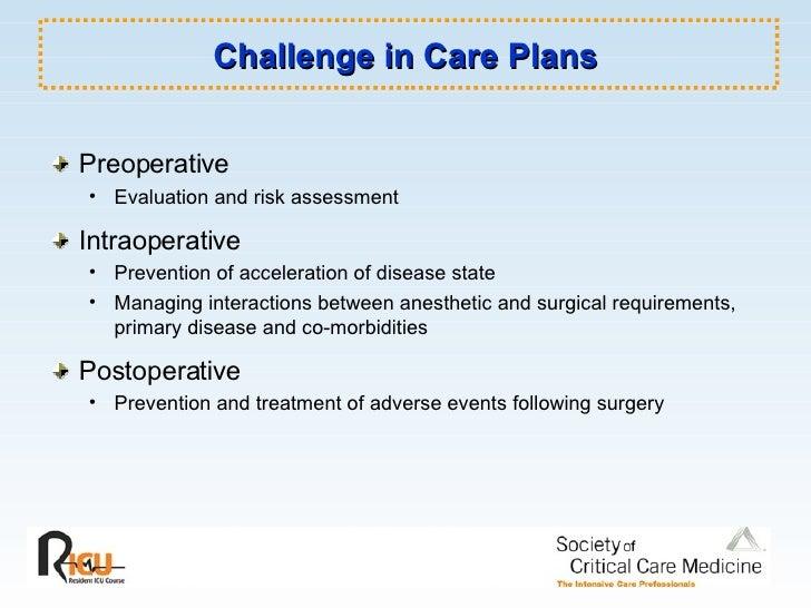 Challenge in Care Plans <ul><li>Preoperative </li></ul><ul><ul><li>Evaluation and risk assessment </li></ul></ul><ul><li>I...