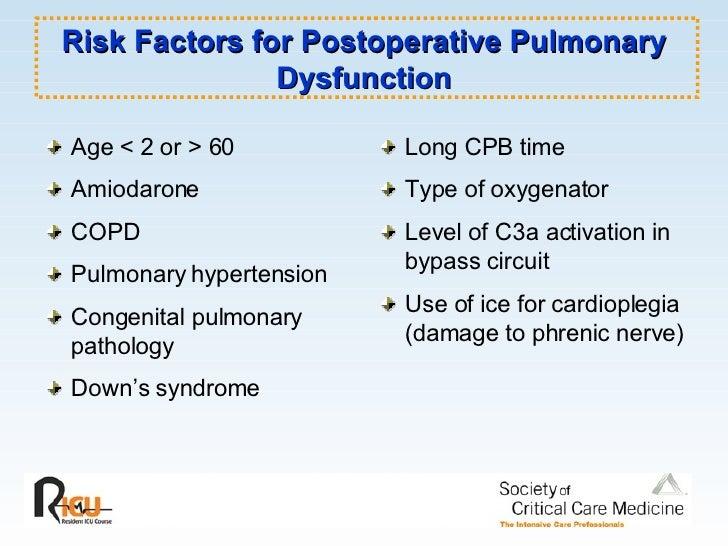Risk Factors for Postoperative Pulmonary Dysfunction <ul><li>Age < 2 or > 60 </li></ul><ul><li>Amiodarone  </li></ul><ul><...