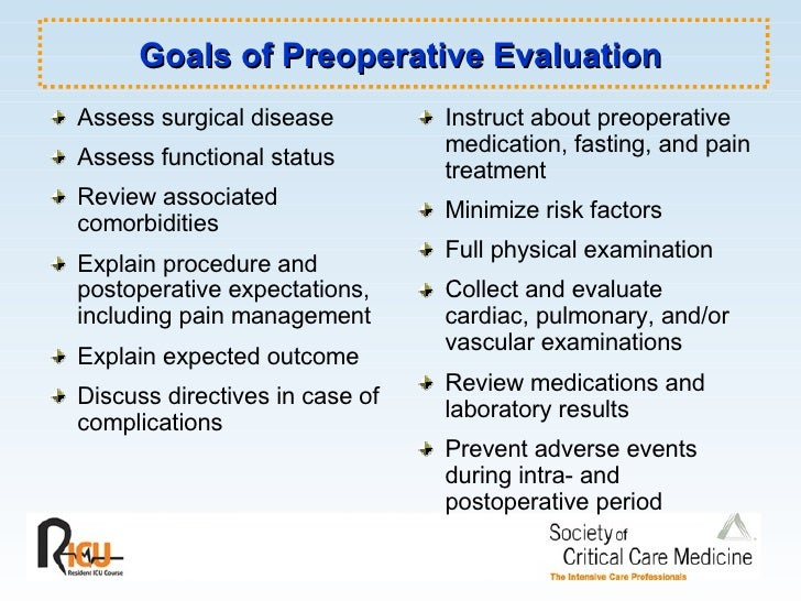 Goals of Preoperative Evaluation <ul><li>Assess surgical disease </li></ul><ul><li>Assess functional status </li></ul><ul>...