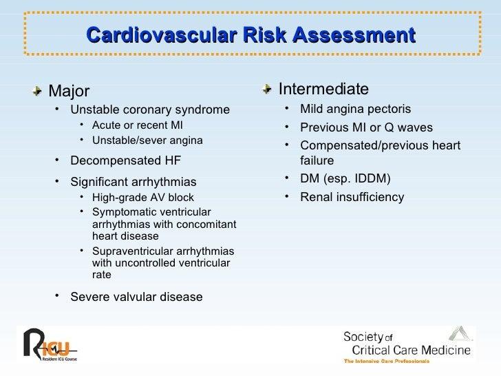 Cardiovascular Risk Assessment <ul><li>Major </li></ul><ul><ul><li>Unstable coronary syndrome </li></ul></ul><ul><ul><ul><...
