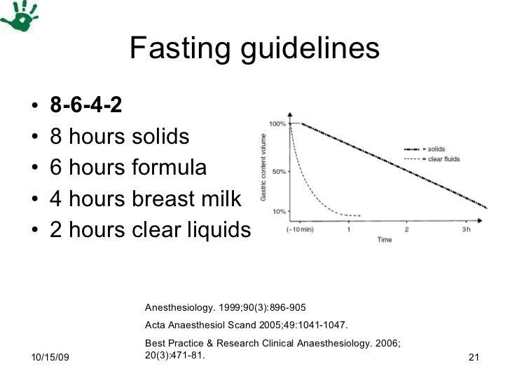 Fasting guidelines <ul><li>8-6-4-2 </li></ul><ul><li>8 hours solids </li></ul><ul><li>6 hours formula </li></ul><ul><li>4 ...
