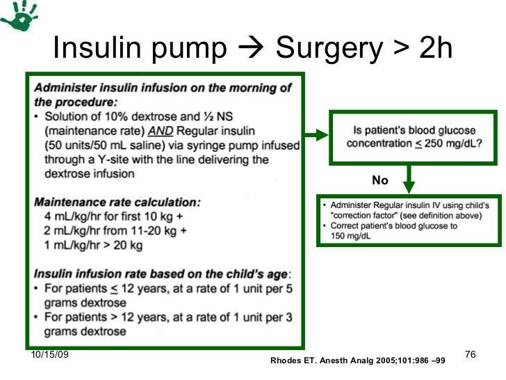 Insulin pump    Surgery > 2h No Rhodes ET. Anesth Analg 2005;101:986 –99