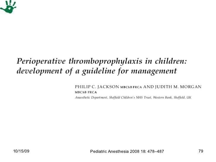 Pediatric Anesthesia 2008 18: 478–487