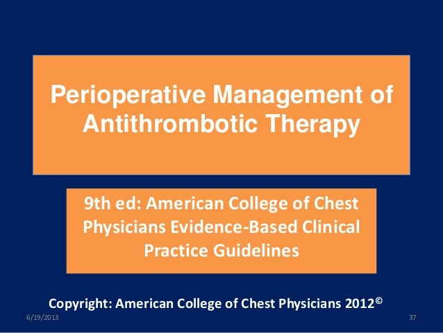 Perioperative management of antithrombotic therapy 2012 pdf