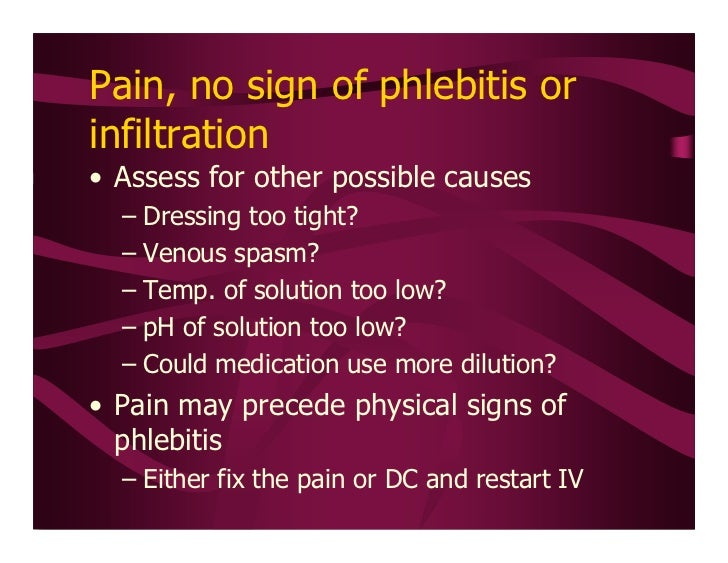 peripheral ivs and phlebitis Maki dgringer m risk factors for infusion-related phlebitis with small peripheral venous catheters peripheral intravenous catheters ivs ltd , schaffhausen.
