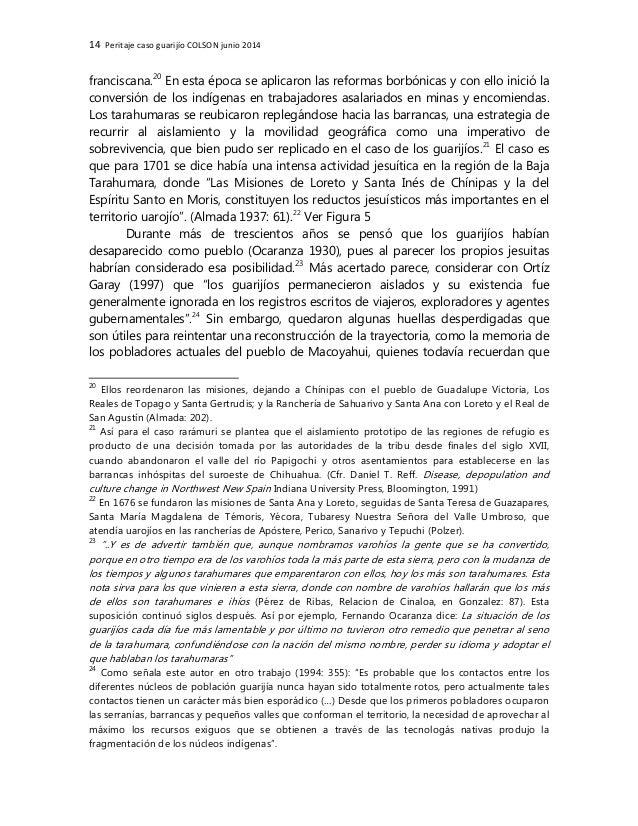 14 Peritaje caso guarijío COLSON junio 2014 franciscana.20 En esta época se aplicaron las reformas borbónicas y con ello i...