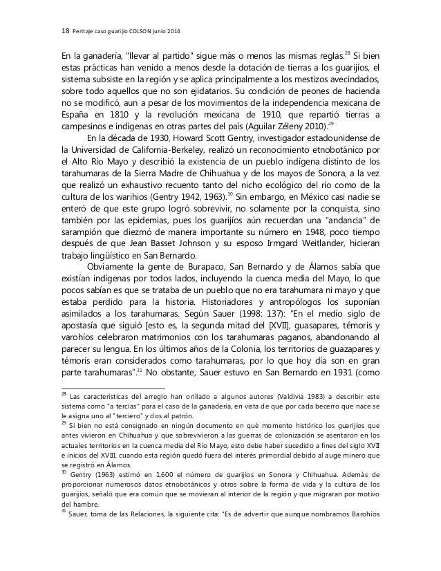 """18 Peritaje caso guarijío COLSON junio 2014 En la ganadería, """"llevar al partido"""" sigue más o menos las mismas reglas.28 Si..."""