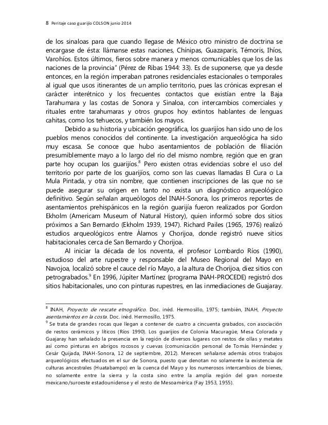 8 Peritaje caso guarijío COLSON junio 2014 de los sinaloas para que cuando llegase de México otro ministro de doctrina se ...