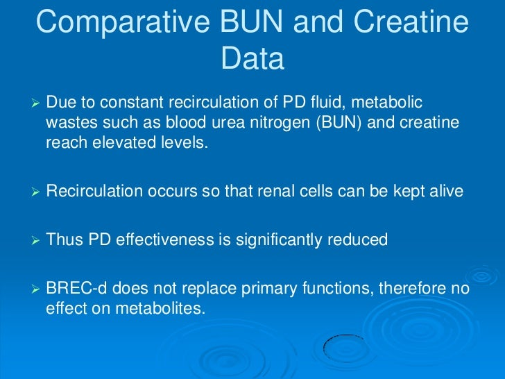 Comparative BUN and Creatine            Data   Due to constant recirculation of PD fluid, metabolic    wastes such as blo...