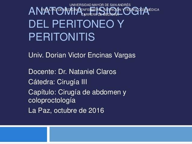 Anatomía y Fisiología del peritoneo y peritonitis