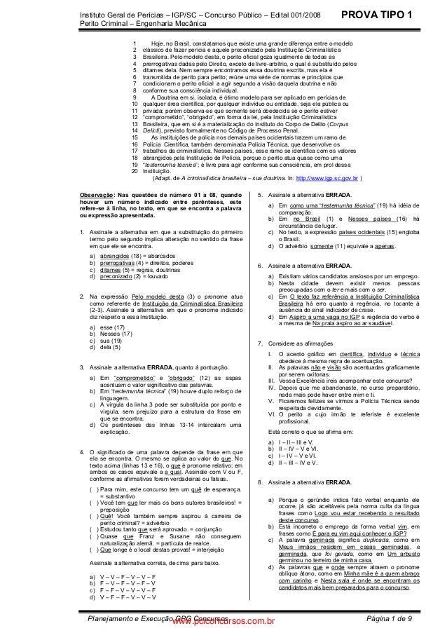 Instituto Geral de Perícias – IGP/SC – Concurso Público – Edital 001/2008 Perito Criminal – Engenharia Mecânica Planejamen...