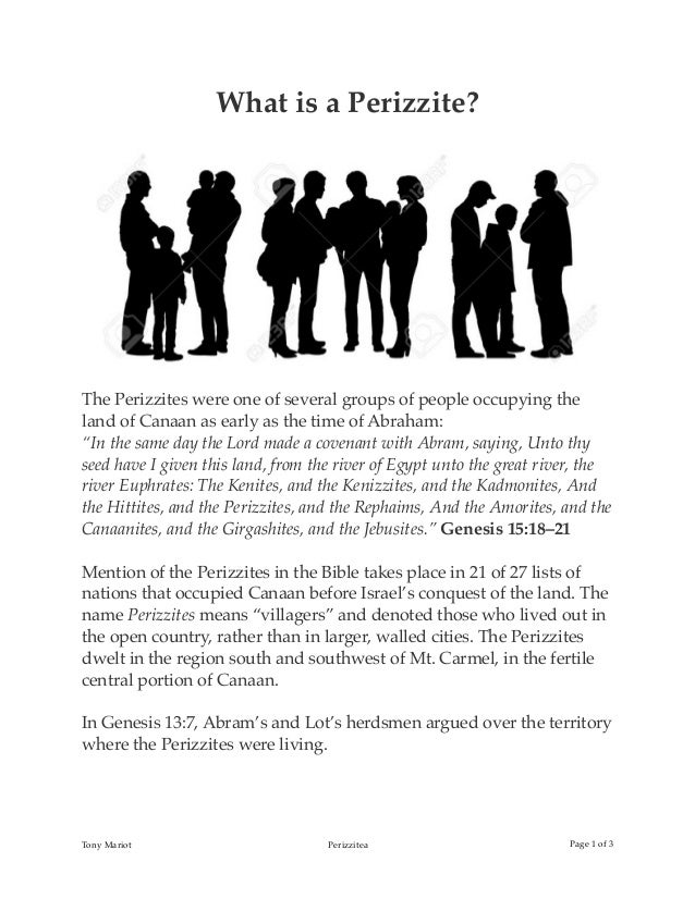 What is a Perizzite? The Perizzites were one of several groups of people occupying the land of Canaan as early as the time...