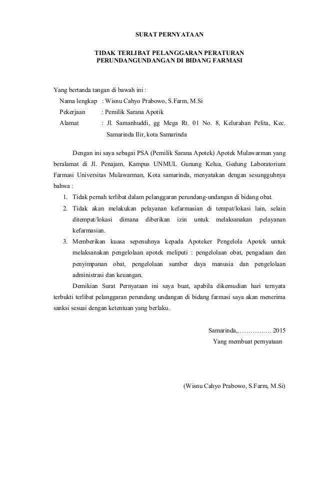 Contoh Surat Pengunduran Diri Apoteker