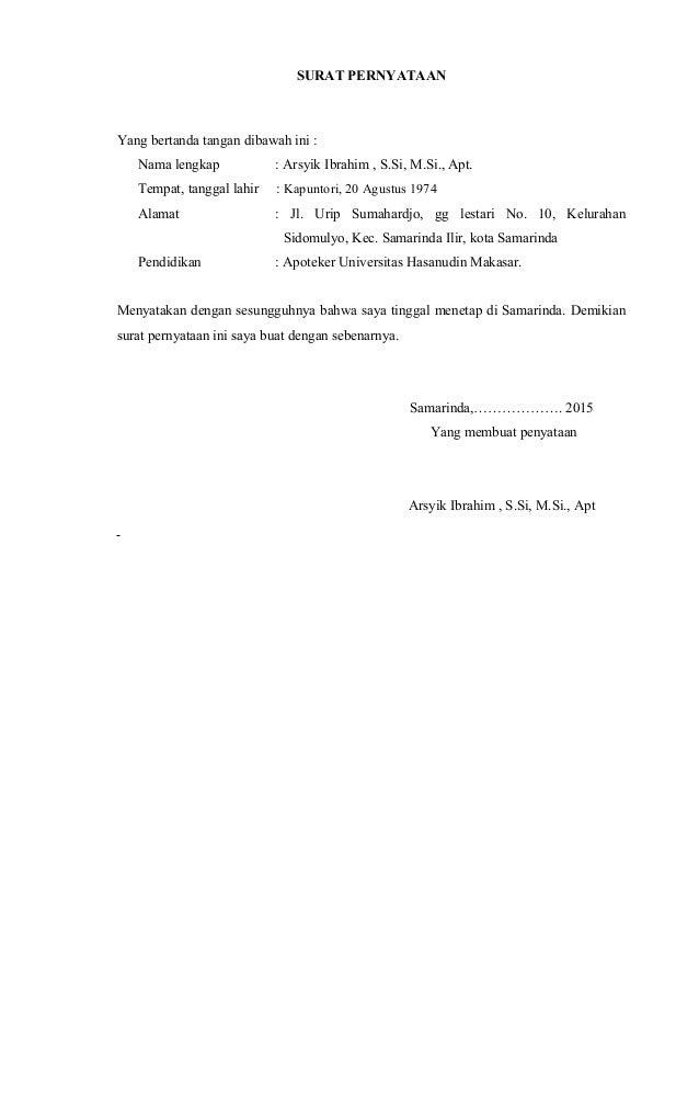 Surat Pernyataan Tidak Bekerja Di Apotek Lain - Kumpulan ...