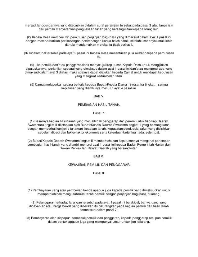 Perjanjian Bagi Hasil Uu 2 Thn 1960 2
