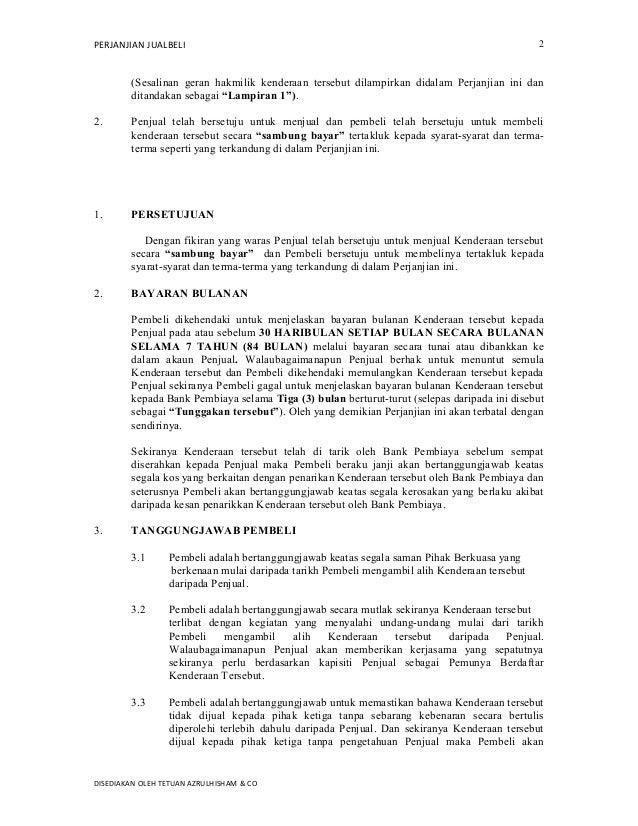 Format Surat Perjanjian Jual Beli Kereta Sambung Bayar
