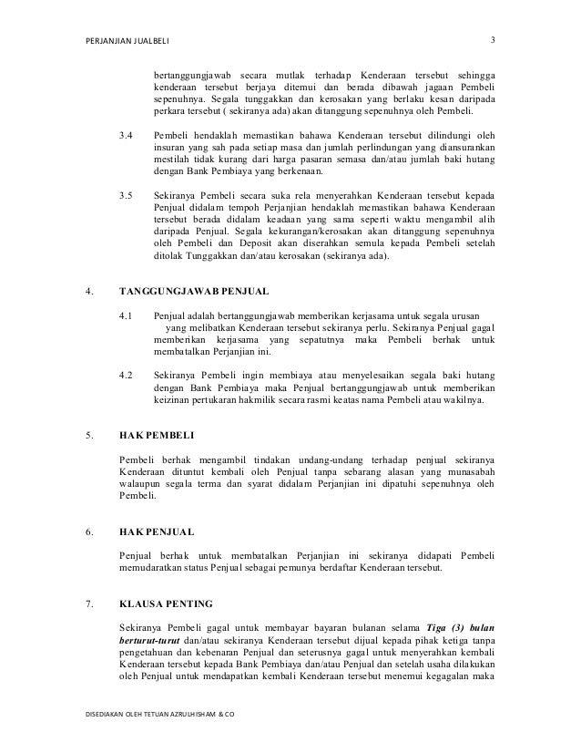 Contoh Perjanjian Jual Beli Kenderaan