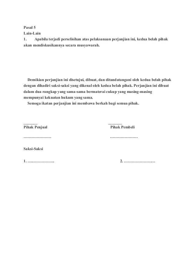 Contoh Surat Perjanjian Jual Beli Kereta Kumpulan Surat Penting