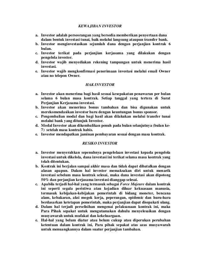 Contoh surat perjanjian investasi forex