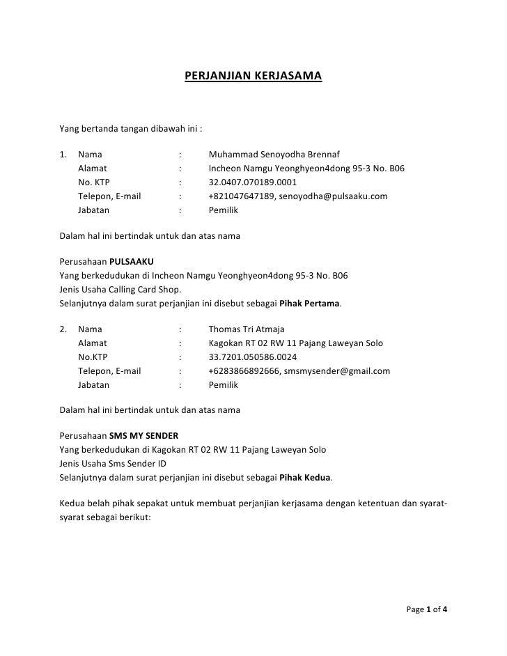 Perjanjian Kerjasama Pulsaaku Sms My Sender Nov 2011 Feb 2012