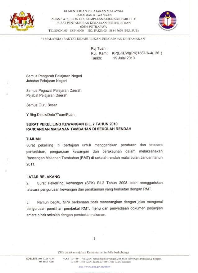 Contoh Perjanjian RMT sekolah rendah